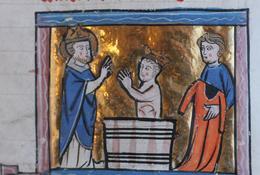 Baptême de Clovis   (Saint Vaast tient le manteau du roi) XIIIe siècle - Médiathèque d'Arras