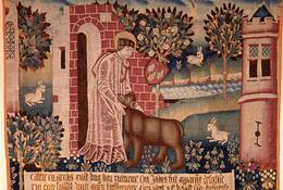 Saint Vaast apprivoisant l'ours- tapisserie d'Arras XVe siècle - Musée des Beaux-Arts d'Arras